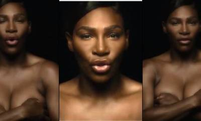 Tennis champion, Serena Williams goes completely topless in heroic breast cancer - Video
