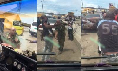 Soldier flogs driver mercilessly, shatters his windscreen for overtaking him in Lagos (Video)