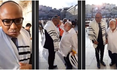 Nnamdi Kanu appears at Jerusalem's Wailing Wall again (Photos)