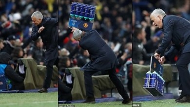 See the Jose Mourinho's crazy celebration everyone is talking about after Fellaini's dramatic injury-time goal for Man.U (Photos)