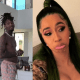 "Cardi B offers to ""suck"" Offset's d*** through the phone as she shares shirtless video of him dancing to promote his album"
