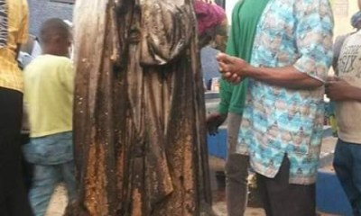 Woman sets statue of Virgin Mary ablaze at a Catholic Church in Enugu (Photos)