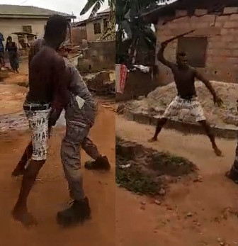 Video: Man fights PHCN official with machete over light disconnection in Lagos