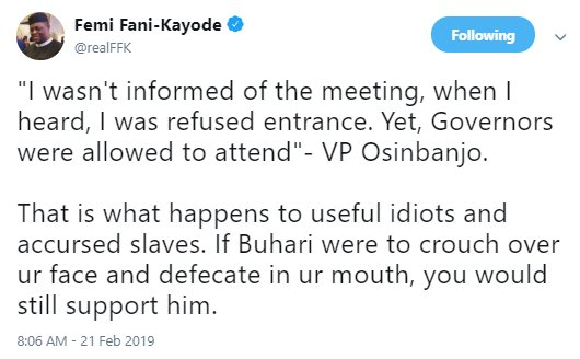 FFK quotes Osinbajo as saying he was locked out of the meeting Pres. Buhari had with Northern governors and security chiefs