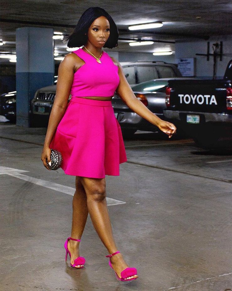 Fashion: BBNaija BamBam dazzles on pink as she flaunts her curves