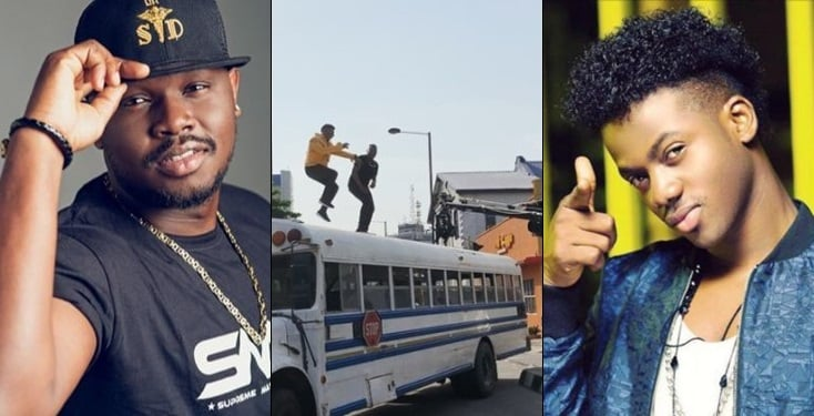 Watch Moments Dr Sid and Korede Bello nearly fell off the top of a bus while shooting a video