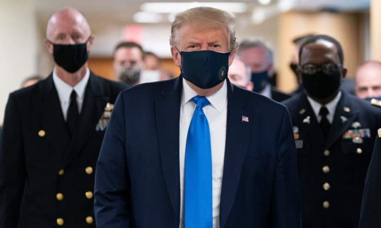 US President, Trump wears mask in public for first time during COVID-19 pandemic (Photos)