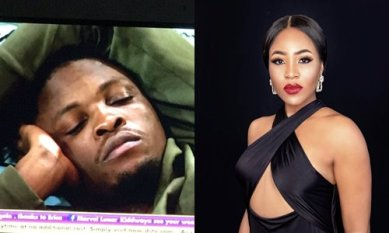 BBNaija 2020: Moment Erica and Kiddwaya Gave Laycon Heart Attack (Video)
