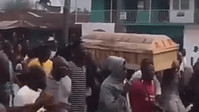 #EndSARS: Watch moment thousands of Ekiti youths march the street with Coffin