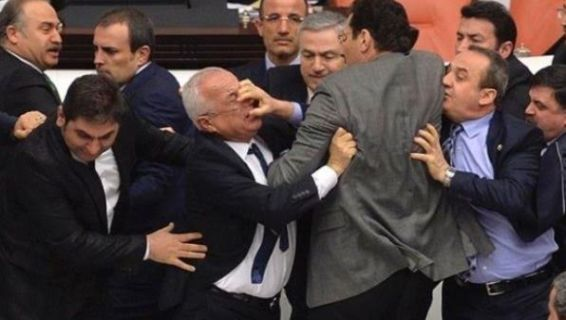 Photos: Turkey lawmakers throw punches in parliament