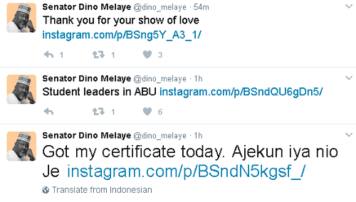 Finally! Dino Melaye Storms ABU To Collect His Certificate