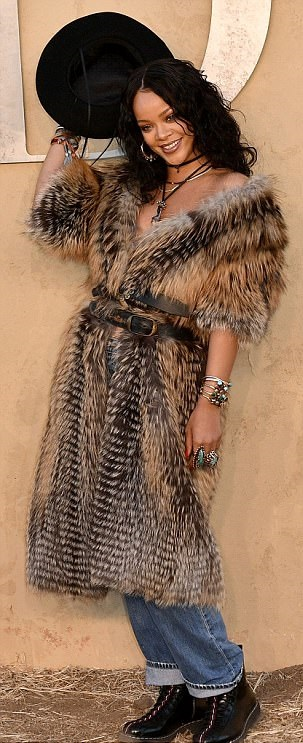 Wow! Rihanna Goes Brazeze For Low-Key Cowgirl Chic In Fur Coat