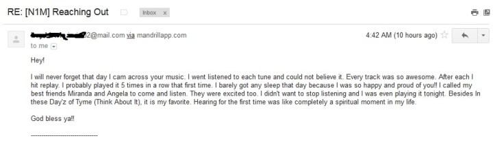 Feedback from fans of my music