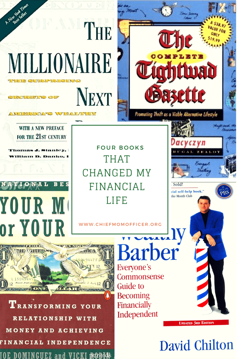 Financial books, millionaire next door, tightwad gazette, your money or your life, the wealthy barber