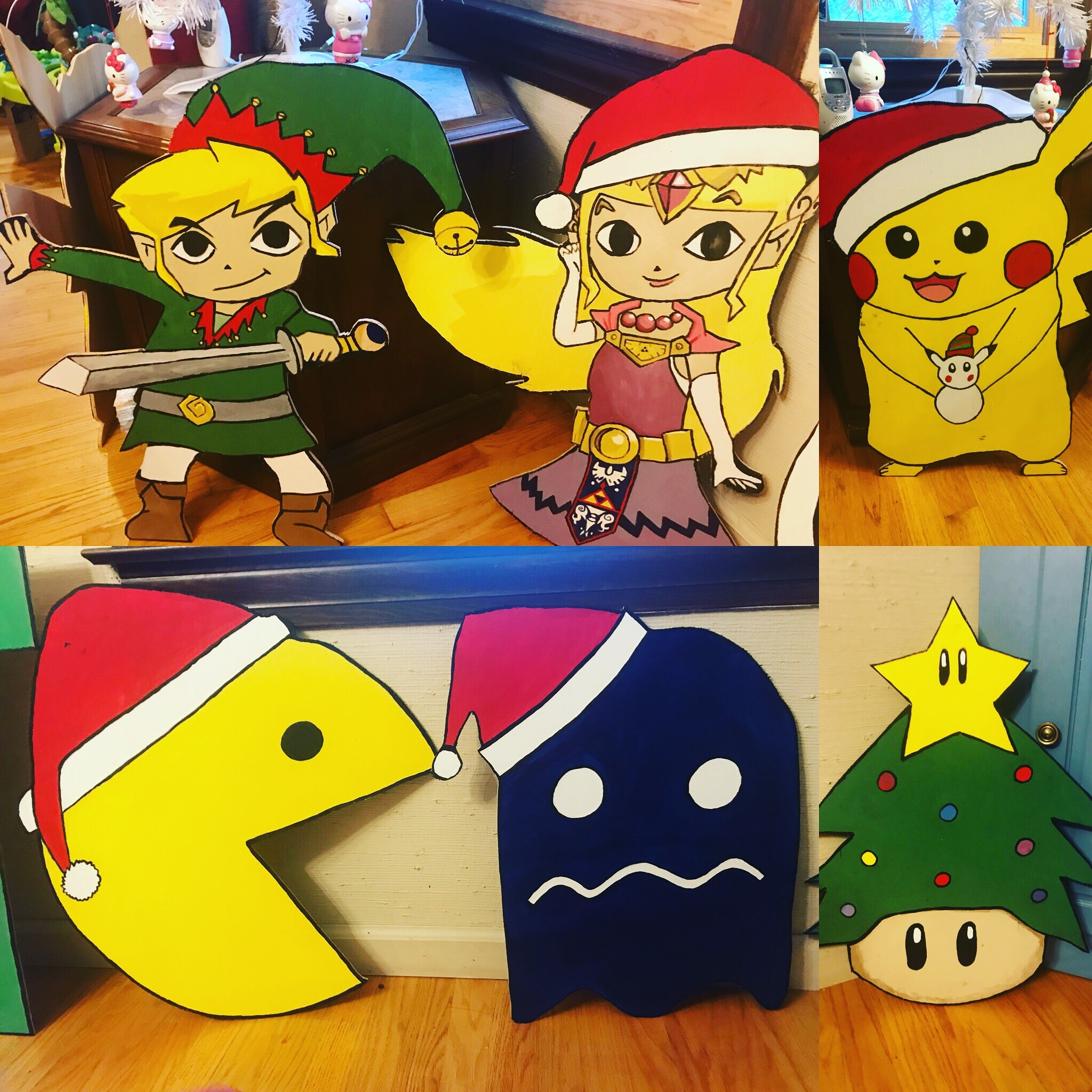 Zelda, Link, Pikachu, PacMan (with ghost), and Christmas Mushroom
