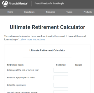 Financial Mentor Retirement Calculator Review
