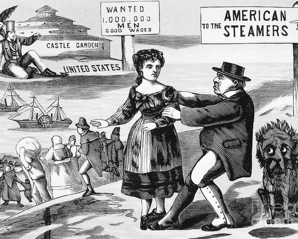 1855 Poster featuring the photograph Immigration Cartoon, C1855 by Granger