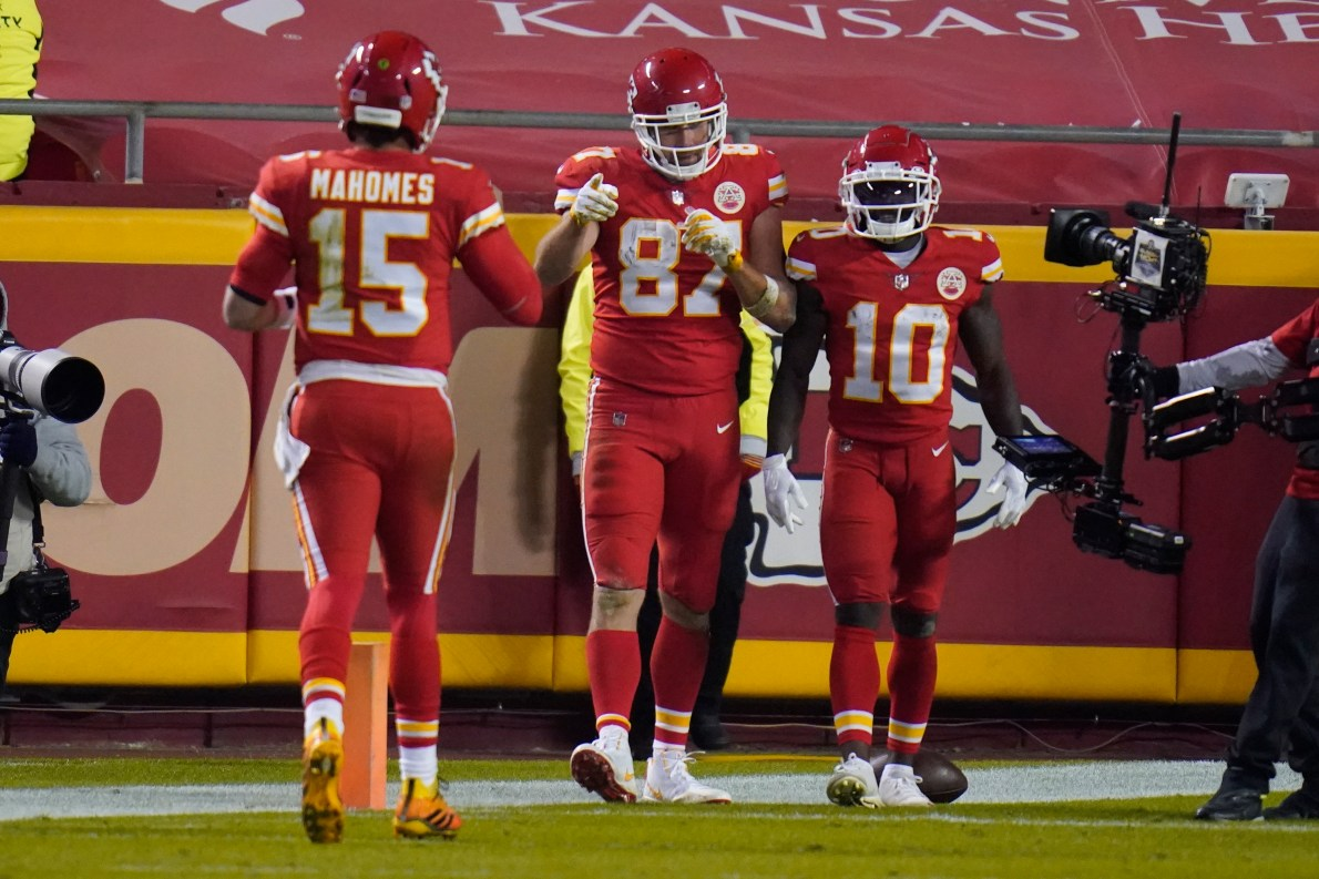 Image result for kansas city chiefs hill, kelce, reid