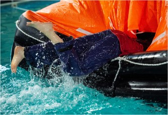Boarding the life-raft on the PST Course