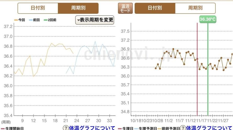 キレイドナビの婦人体温計で基礎体温を測ってみた。グラフ付き