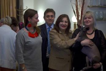 Lucie Moskalenková (member of the Klub Chovatelu Nahacu), Liliana de Olarte de Torres-Muga (Ambassador of Peru in Czech Republic), Eva Linhartová –(Chairman of the Klub Chovatelu Nahacu) and Nieva Taysha Pazzda (Peruvian Hairless Dog of Eva Linhartová)