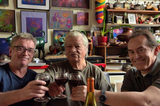 François Darleguy (Director), Alberto Quintanilla (peruvian Artist and participant of the film) and Pedro-Santiago Allemant (Director). Photo by Benjamin Quintanilla