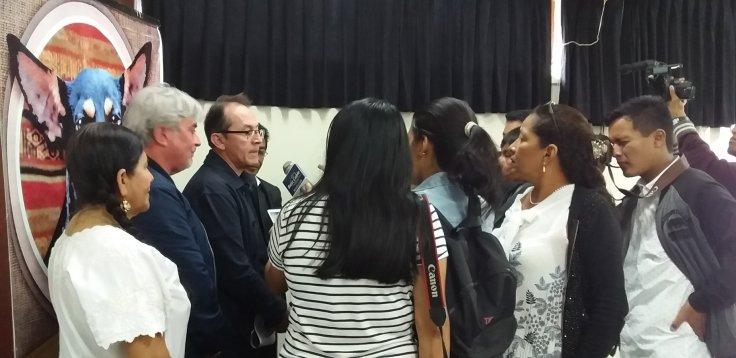 """""""El Perro sin pelo del Perú con pelo"""": Conferencia de prensa – DDC Lambayeque. Photo by Consuelo Salas Valladolid – Asist. Serv. de Educación y Cultura – OGRSU – UNPRG."""