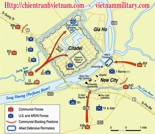 Bản đồ trận Mậu Thân ở Huế 1968 trong chiến tranh Việt Nam - Battle of Hue map in Tet Offensive 1968 in Viet Nam war