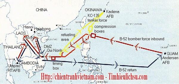 Tuyến đường bay của máy bay pháo đài bay B-52 đến oanh kích các mục tiêu trong chiến tranh Việt Nam - B-52 Stratofortress bombers routes to targets in Vietnam war