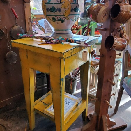 handmade yellow painted table
