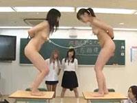 女教師と女生徒の乳首相撲。はっけよーい、のこった!