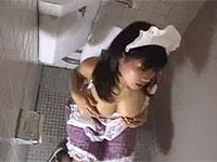 今日もトイレで乳首弄りにふけるスケベな巨乳メイド