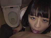 仕事帰りのほろ酔いヤリ友に公衆トイレで乳首舐めからの〜乳首舐め手コキで口内発射してもらう素人撮影動画!