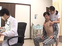 診察中に僕の乳首をこっそり責めてくる看護師