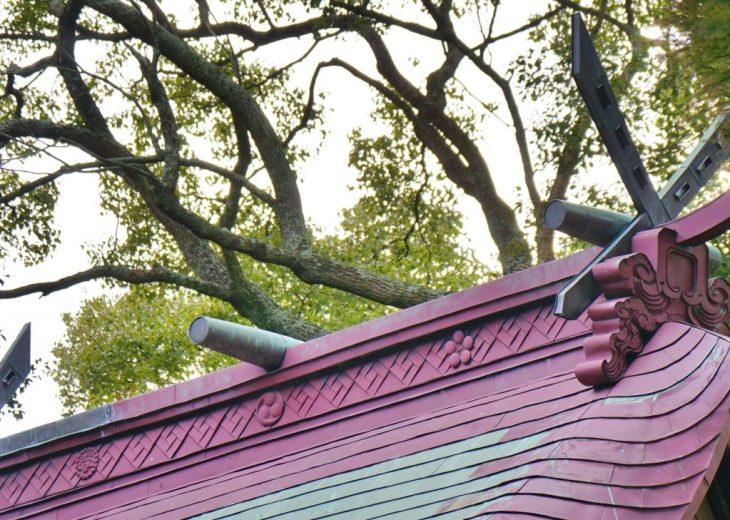 みやま市瀬高町大江 若宮神社 本殿の屋根 三つ巴 梅 桐