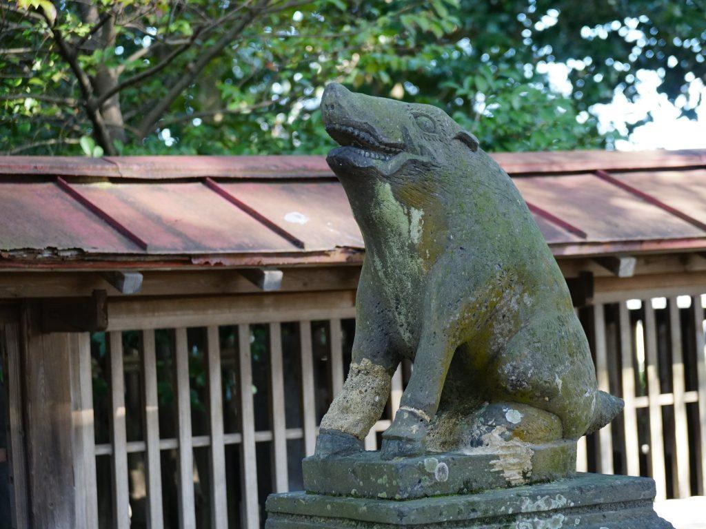 福岡県大牟田市久福木72 諏訪宮 猪の狛犬 狛猪 こまいのしし