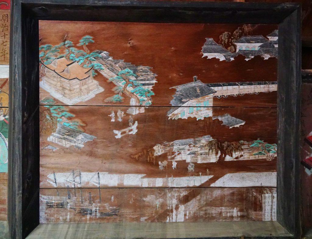 正八幡宮 拝殿内の大絵馬 神社 船 列車 洋風建築