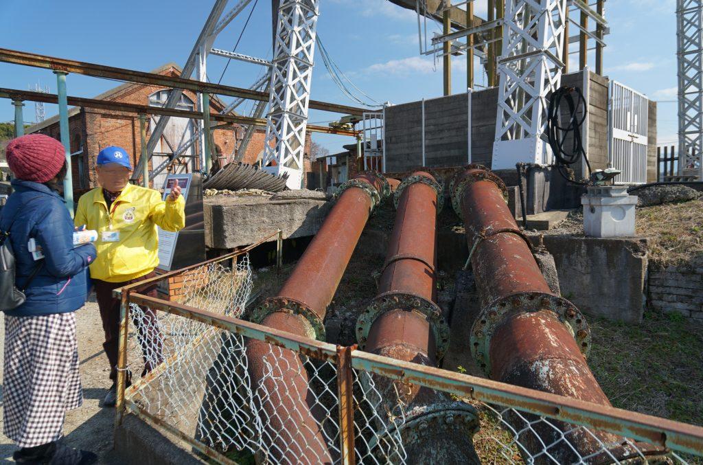 重要文化財 地下水くみ上げ 三池鉱山宮原坑跡 排水管