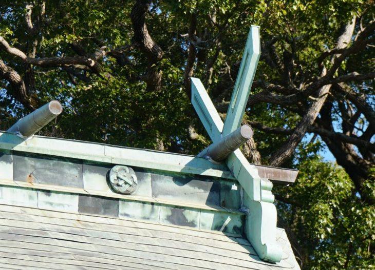 福岡県大牟田市鳥塚町88 三笠神社 祗園守紋 神殿の屋根
