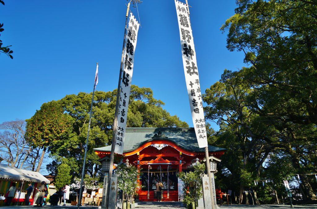 福岡県大牟田市鳥塚町87 熊野神社 お正月の装い 青空