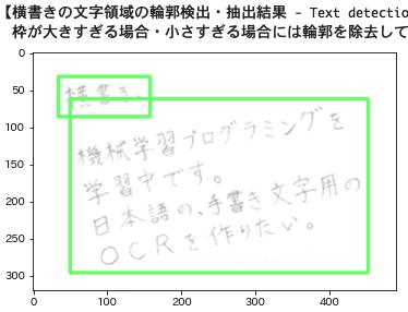 OCRの前処理:ノイズ除去した画像(文字領域のレイアウト認識も実施済みの画像)