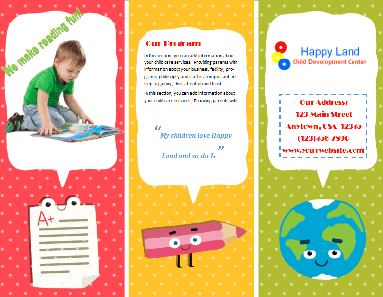 child care brochure template 22 - child care owner, Template For Children Clothing Presentation, Presentation templates