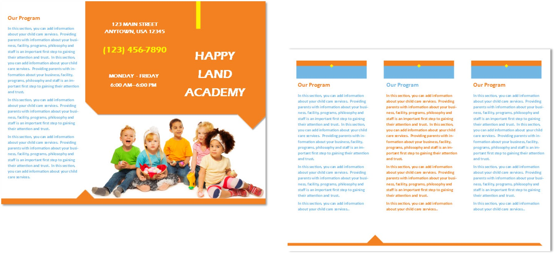 Child care brochure template 25 child care owner for Marketing handouts