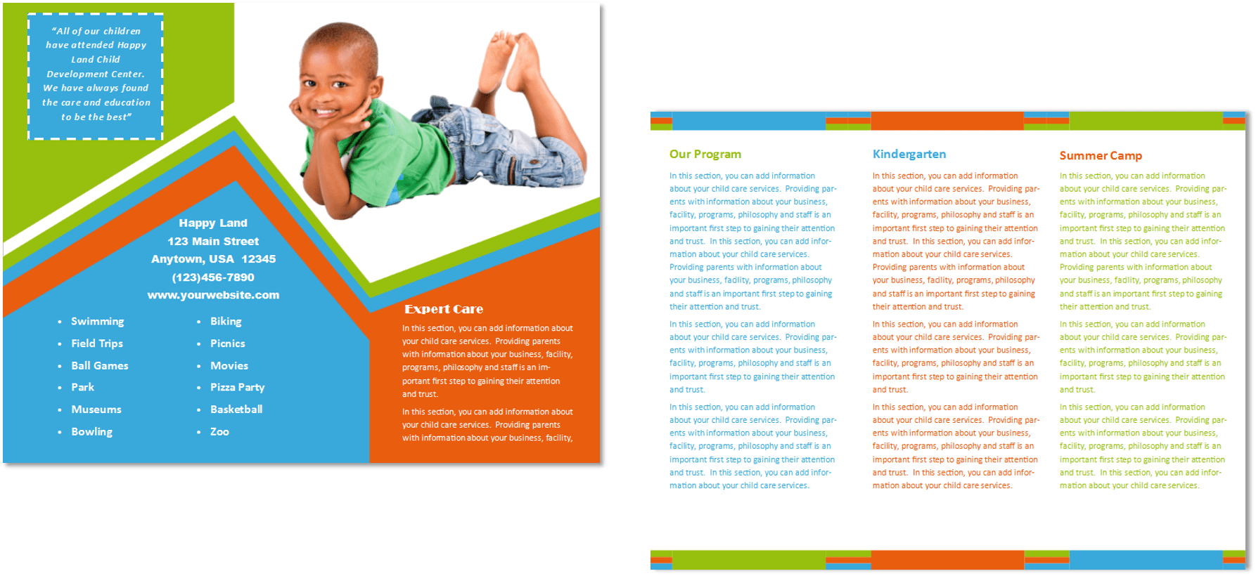 Child care brochure template 26 child care owner for Daycare brochure template