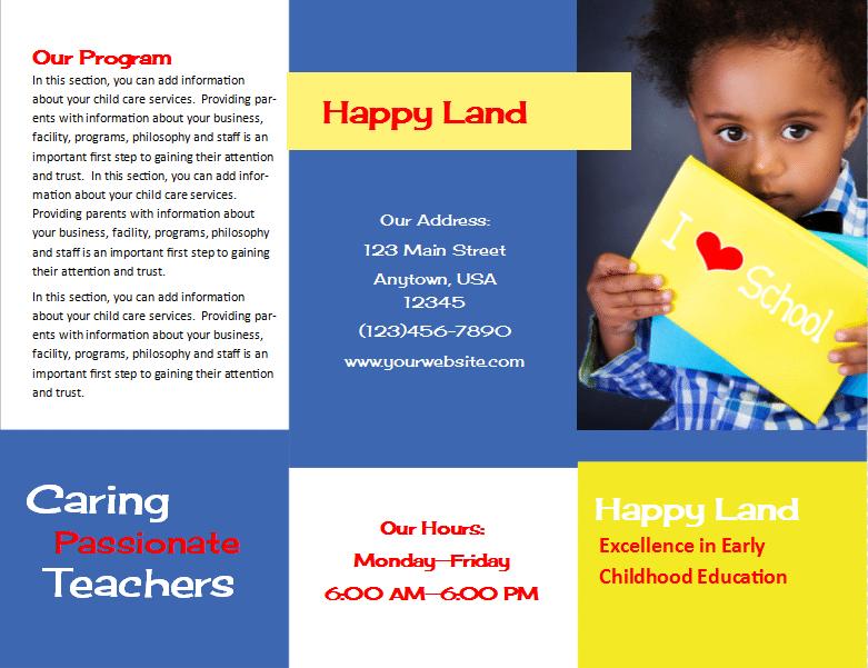 Preschool Brochure Template Preschool Brochure Free Psd Ai Eps - Child care brochure template