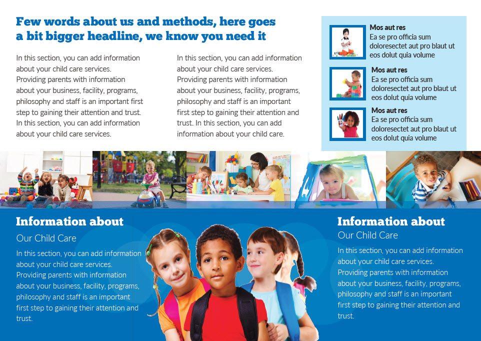 Child Care Brochure Template 4 Child Care Owner – Preschool Brochure Template