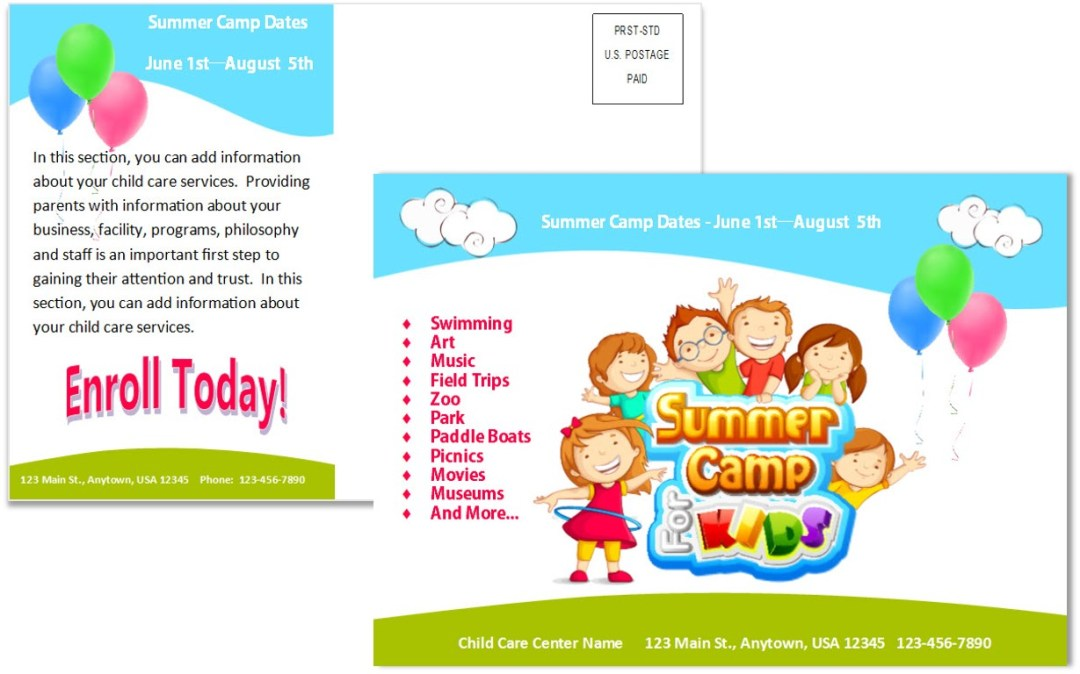 Child Care Postcard Template 7