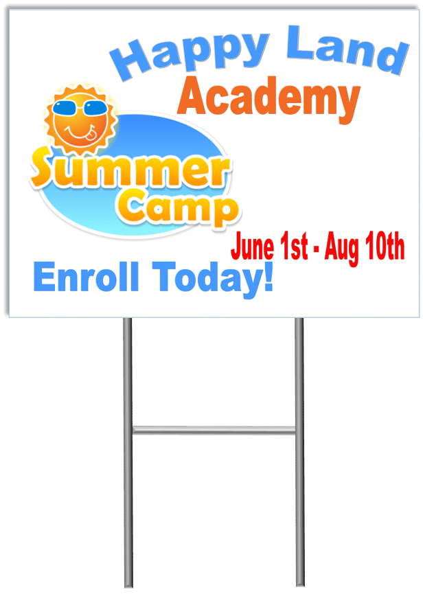 Summer camp yard sign template 1 child care marketing yard signs child care business cards child care folders child care marketing preschool marketing reheart Image collections