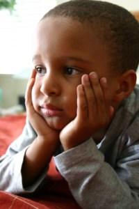 kindergarten boy thinking