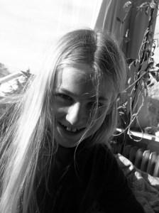 tween girl happy
